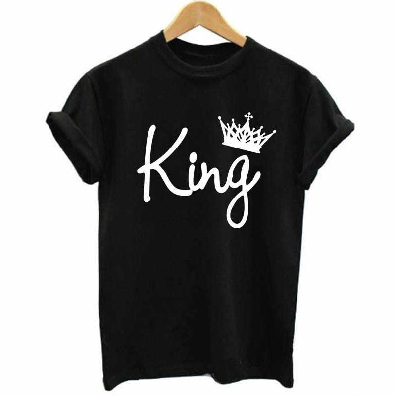 王女王カップル Tシャツクラウン印刷カップルの服の夏 Tシャツ 2019 カジュアル O ネックトップス Tシャツ