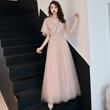 It's YiiYa Evening Dress Full Appliques Sexy Illusion Formal Dresses Women Elegant Pink V-Neck Lace Up Long Party Gown E086