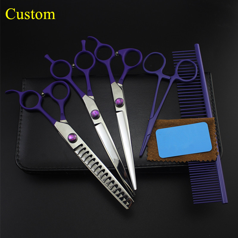 Custom 5 kit Professional japan 7 '' Violet Pet dog grooming hair scissors cutting shears thinning barber hairdressing scissors 8 japan dog thinning scissors dog hair scissors groomer pet thinning shears dog hairdresser trimming cat animal hair scissors