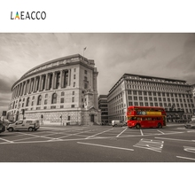 Laeacco London Street Telephoto Booth Bus Scenic Photography Background Custom Vinyl Photographic Backdrops For Photo Studio