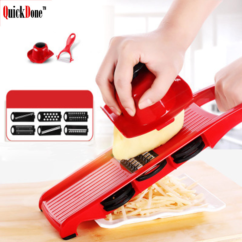QuickDone Plastic Vegetable Fruit Slicers & Cutter With Adjustable Stainless Steel Blades Carrot Potato Onion Grater CKC1363