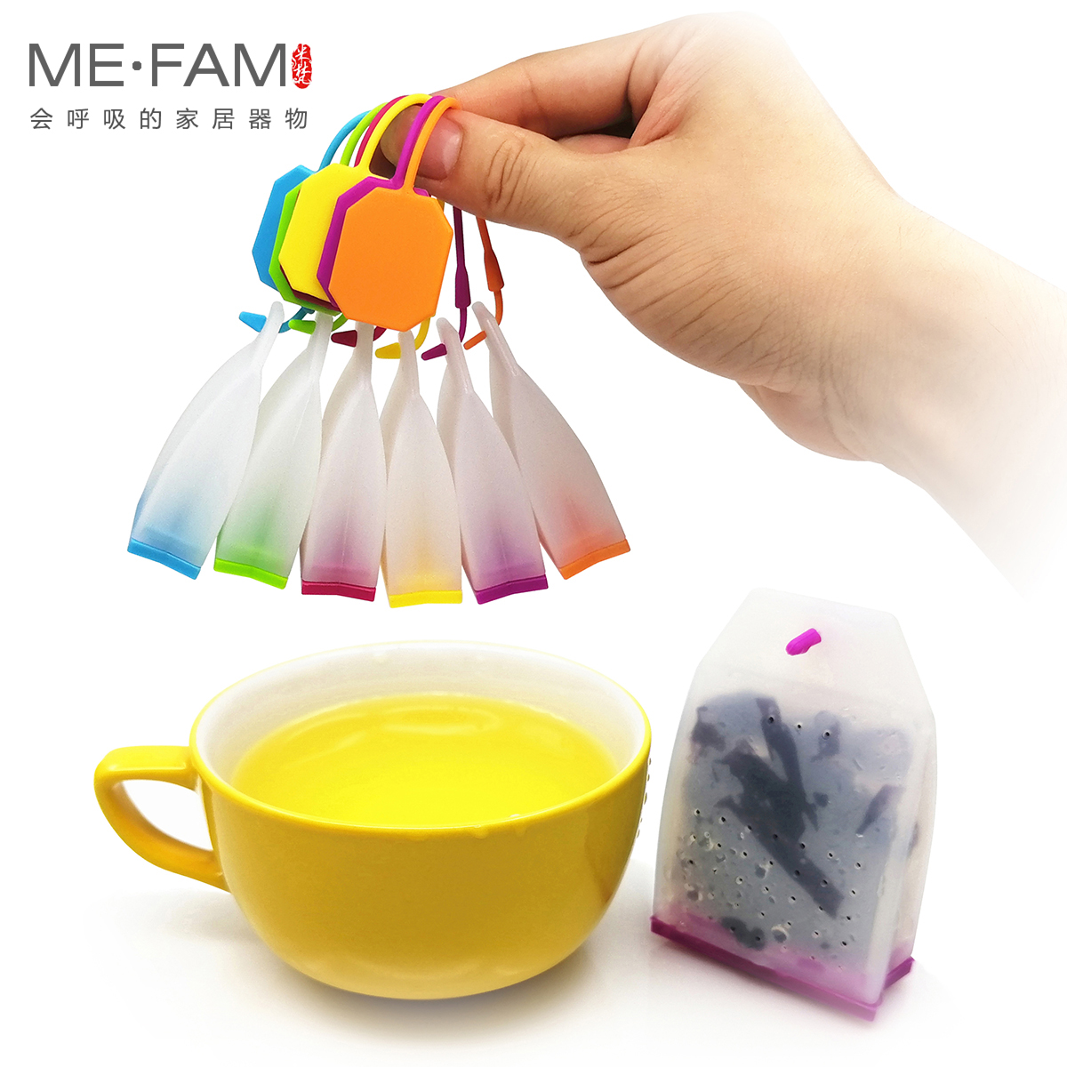 ME FAM Jelly Silicone Tea Bag Safe Eco Friendly Non toxic Reusable Tea leaves Infuser Filter Herbal Spice Strainer Tool Set of 3 in Tea Infusers from Home Garden