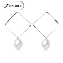 Exquisite beautiful square pearl earrings for women,wedding 925 sterling silver freshwater pearl earrings beautiful 925 sterling silver earrings women wedding cultured natural freshwater black pearl earrings