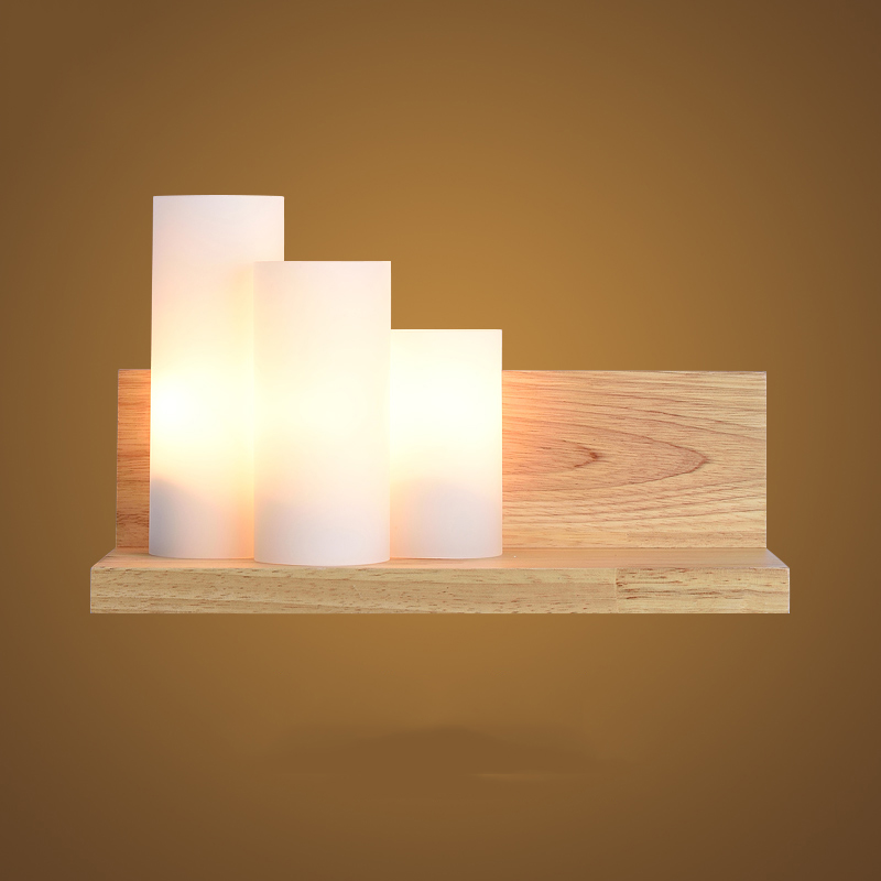 Modern loft glass oak solid wood LED wall lamp bedroom study home lighting wall lamp wall lamp solid wood modern minimalist wall lamp solid wood lamps frosted glass oak lights indoor home lighting fixtures decoration bedroom sconce