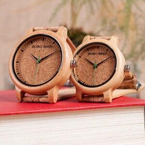 Image 2 - ボボ鳥愛好家竹クォーツカップルの腕時計2020トップブランドファッションコルクストラップ腕時計時計レロジオfemininoドロップシップ