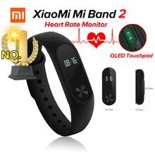 В наличии оригинал Сяо Mi miband 2 mi Группа 2 Фитнес трекер сердечного ритма Мониторы Bluetooth 4.0 OLED Дисплей Touchpad для Android