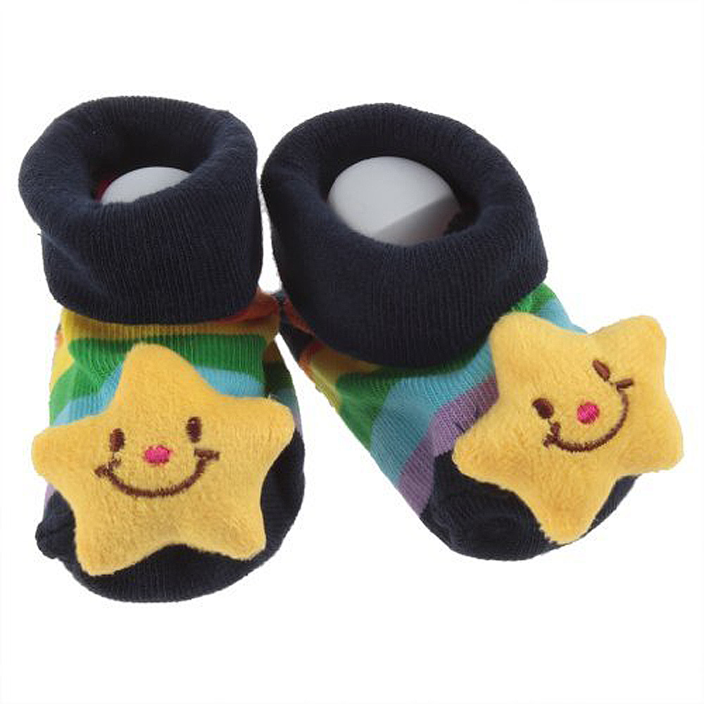Cute Baby Three-dimensional Cartoon Anti-slip Slipper socking Socks Shoes Boots 3D Bootie Socks 0-12 Month New Born (Star)