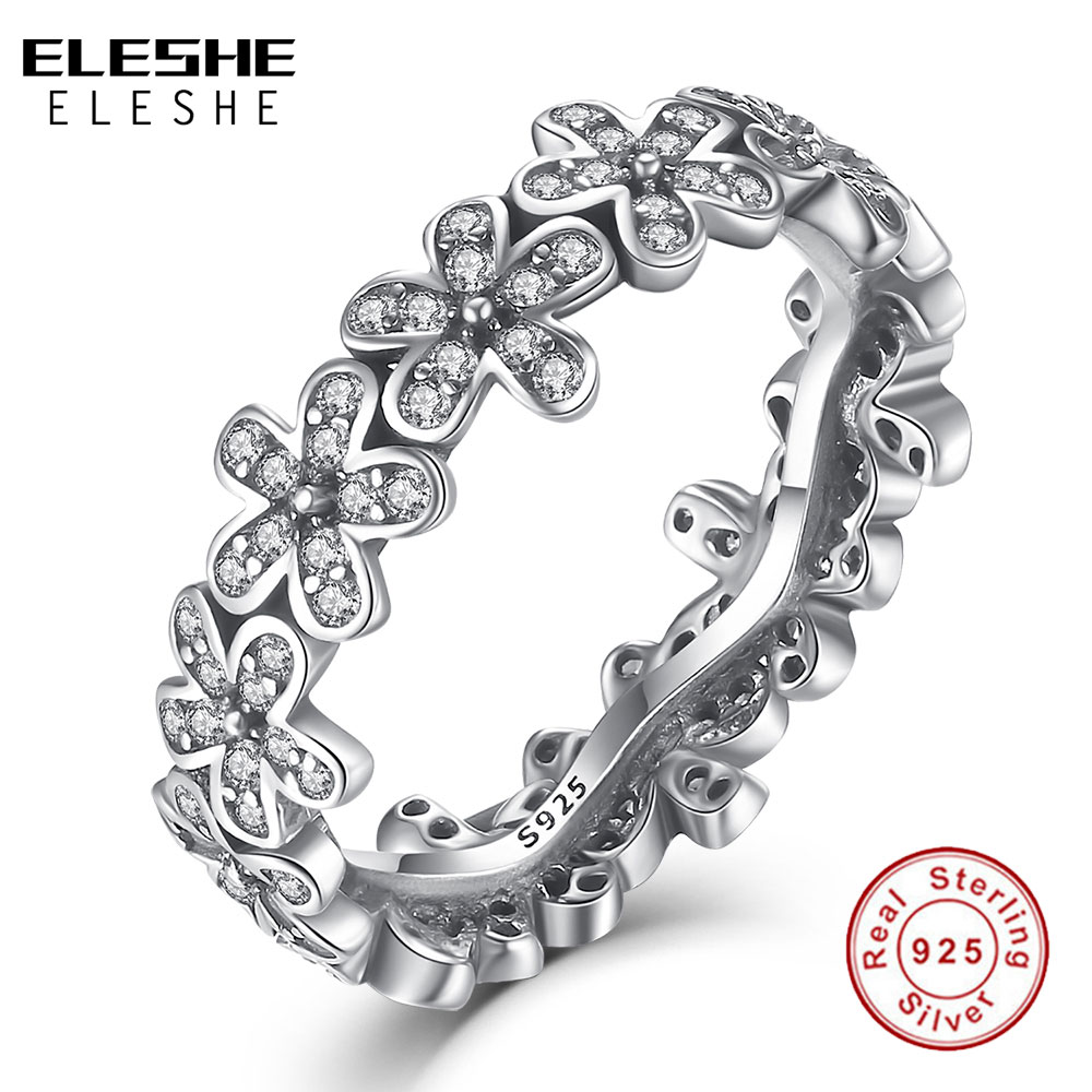 ELESHE Real 100 925 Sterling Silver Rings For Women Dazzling Daisy Ring With Clear CZ Anniversary