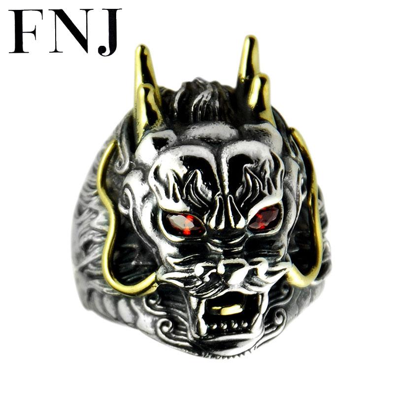 FNJ 925 bague tête de Dragon en argent Punk nouvelle mode Original S925 bagues en argent Sterling pour hommes bijoux taille réglable 9-11.5