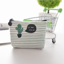 1PC Cute Cactus Coin Wallet Canvas Zipper Coin Purse Change Pouch Key Holder Bag Mini Wallet Holder(China)