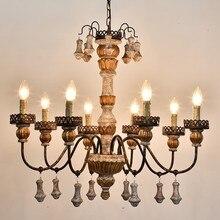 Vintage Wooden Chandelier Iron Lampadario Living Room Chandeliers Ceiling For Home Decor Nordic Design Lustres