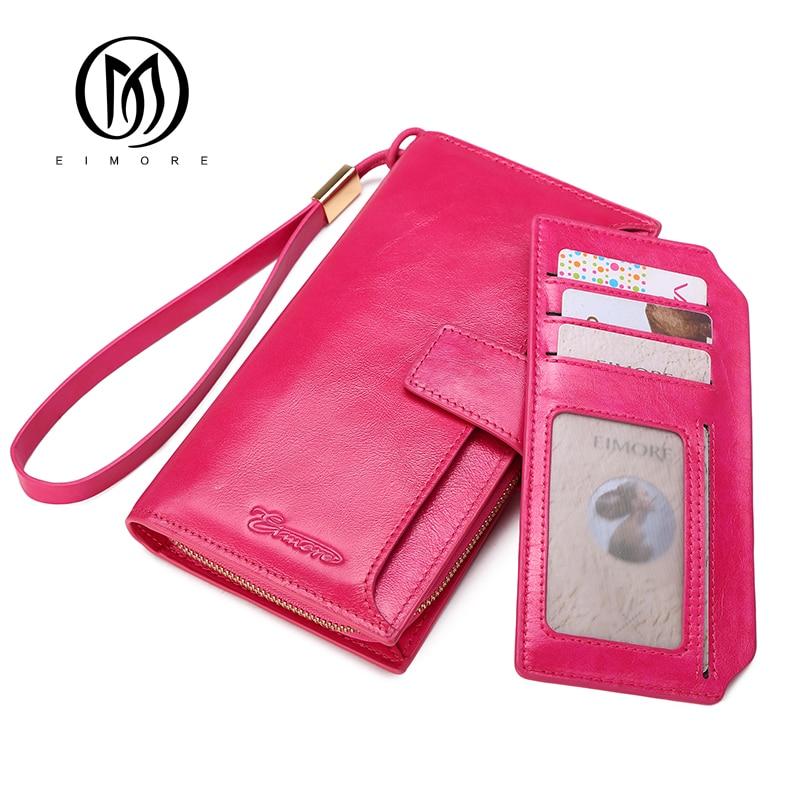 EIMORE Large Capacity Women Clutch Genuine Leather Wallet Female Long Wallet Women Purse Strap Card Holder Women Wallets Brand