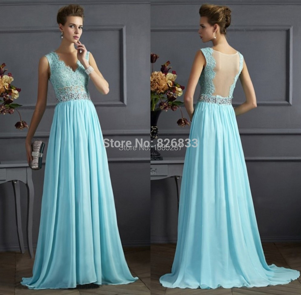 Wedding Baby Blue Bridesmaid Dresses lace cap sleeves v neckline nude back light blue bridesmaid dress long chiffon formal gowns 2015 cheap in dresses from