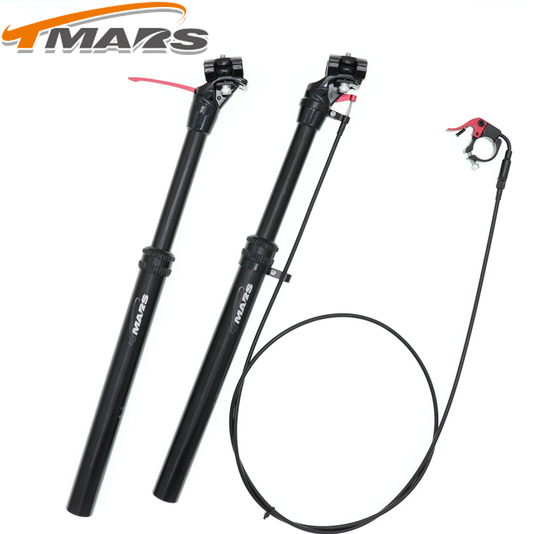 Tmars Dropper Seatpost Adjustable Height 27 2X440mm Remote Control Manual Hand Mechanical MTB Bike 28 6