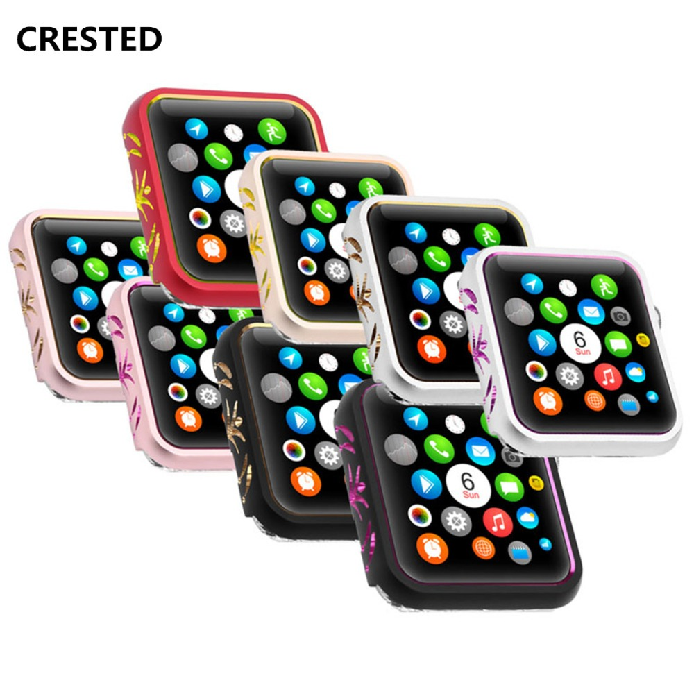 CRESTED Case Cover For Apple Watch band 42mm/38mm iwatch 3/2/1 Anti-fall frame aluminum alloy protective Screen Protector shell case cover for apple watch 4 44mm 40mm iwatch strap 3 2 42mm 38mm aluminum alloy frame diamond protective shell accessories