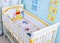¡ Promoción! 5 unids malla de parachoques bebé set bebé parachoques cuna bedding set de dibujos animados, incluyen: (4 bumper + hoja)