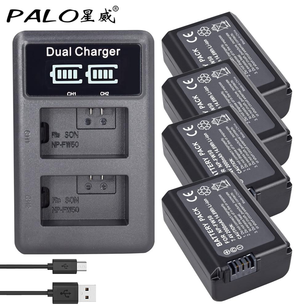 4 Pcs NP-FW50 NP FW50 FW50 batterie + LCD double USB chargeur pour Sony A6000 5100 a3000 a35 A55 a7s II Alpha 55 Alpha 7 A72 A7R Nex7