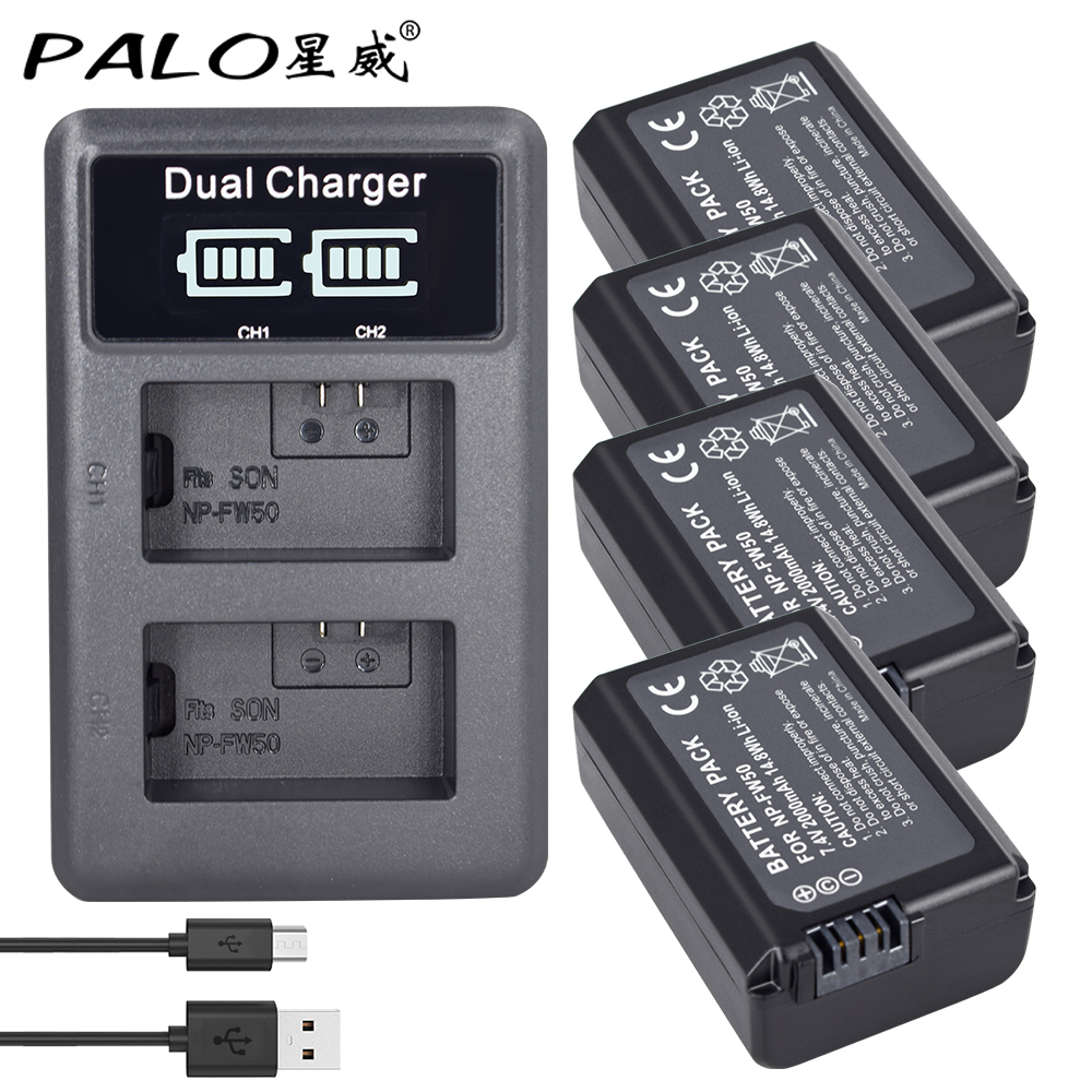 4 pièces NP-FW50 NP FW50 FW50 batterie + LCD double chargeur usb pour Sony A6000 5100 a3000 a35 A55 a7s II Alpha 55 Alpha 7 A72 A7R Nex7