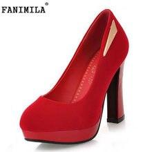 3ad4fc7d65 FANIMILA Tamanho 32-45 Moda Plataforma Mulheres Partido Sapatos de Salto  Alto Calcanhar Grosso Bombas