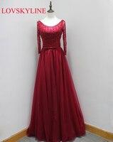 Реальное изображение Красный Фиолетовый вечернее платье длинное с круглым вырезом с длинными рукавами пикантные спинки Бисероплетение Ве...