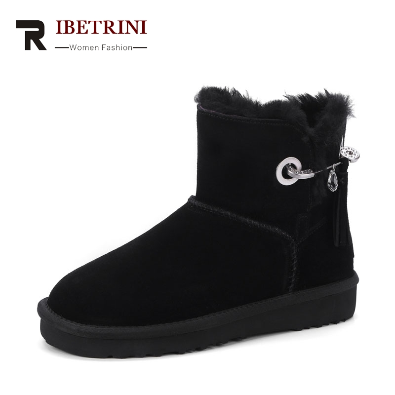 RIBETRINI 2017 Winter Concise Sweet Cow Suede Ankle Snow Boots Slip-On Platform Warm Fur Med Wedges Women Shoes Size 34-39 zorssar 2017 new classic winter plush women boots suede ankle snow boots female warm fur women shoes wedges platform boots