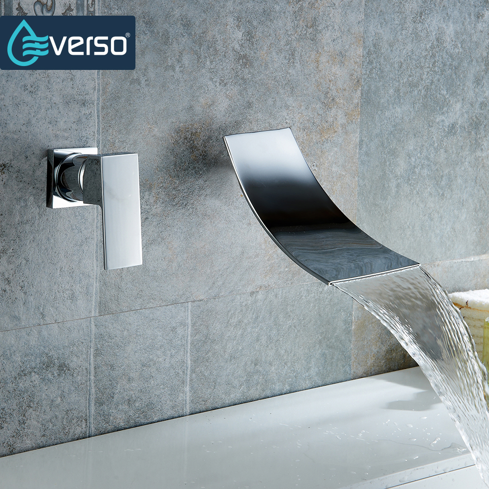 EVERSO Waterfall Basin Faucet  Wall Mounted Chrome Brass Bathroom Basin Faucet Vanity Sink Mixer Tap Single Handle 2 Holes free shipping luxury three piece bathroom faucet brass chromed basin tap wall mounted waterfall faucet lt 303