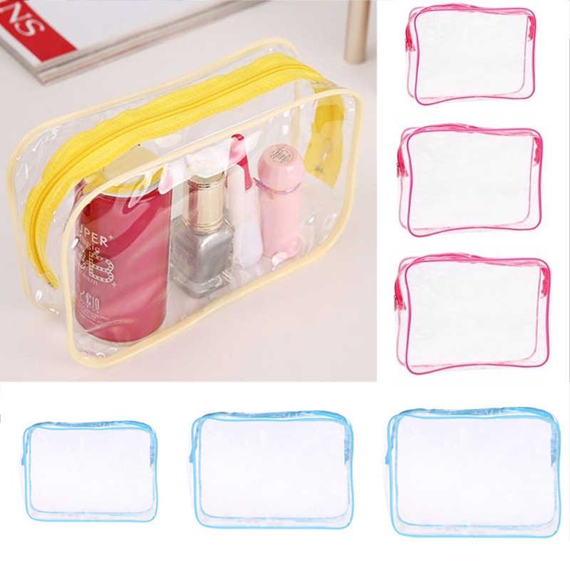 Sale 1 PC pria dan wanita Pakaian Transparan PVC Tas Travel genggam Ritsleting Produk Mandi Kosmetik Tas plastik