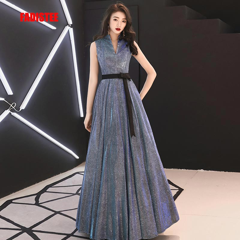 FADISTEE New arrival modern party   dress     evening     dresses   prom lace A-line sexy black bow high neck bling satin