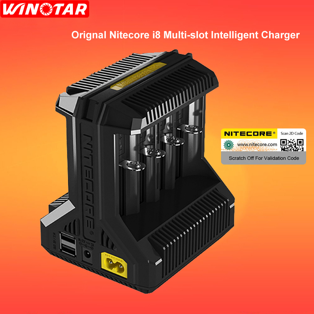 Nitecore i8 Intelligent Charger 8 Slots Total 4A Output Smart Charger for IMR18650 16340 10440 AA AAA 14500 26650 and USB Device nitecore i2 multi function battery charger for 26650 22650 18650 17670 aa more black