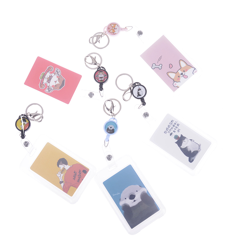 Cartoon Retractable Badge Card Holder Nurse Doctor Exhibition Pull Key ID Name Card Badge Holder School Office Supplies
