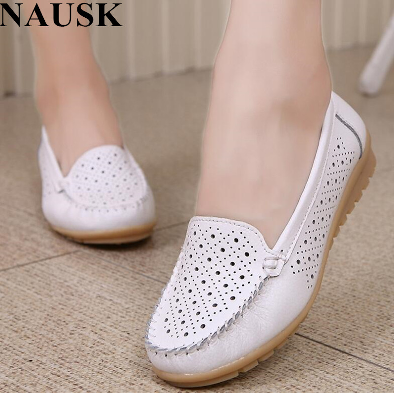 NAUSK 2018 Spring women flats shoes genuine leather shoes woman cutout loafers slip on ballet flats ballerines casual flats Shoe