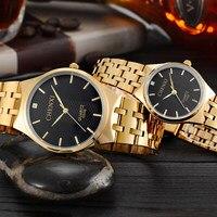 Luxe Goud Mannen Business Modemerk Mannen Vrouwen Horloge Rvs Quartz Horloge Waterdicht Horloge