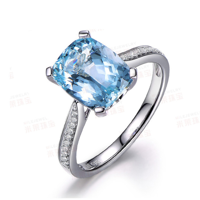 MYRAY Aquamarine Engagement Ring Cushion Cut Stone GoldVintage