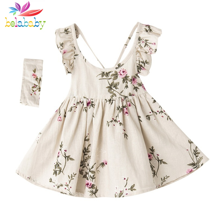 Belababy Baby Girls Dress Summer Toddler Kids Floral Print Backless Party Princess Dresses For Girl Costume Children Clothing