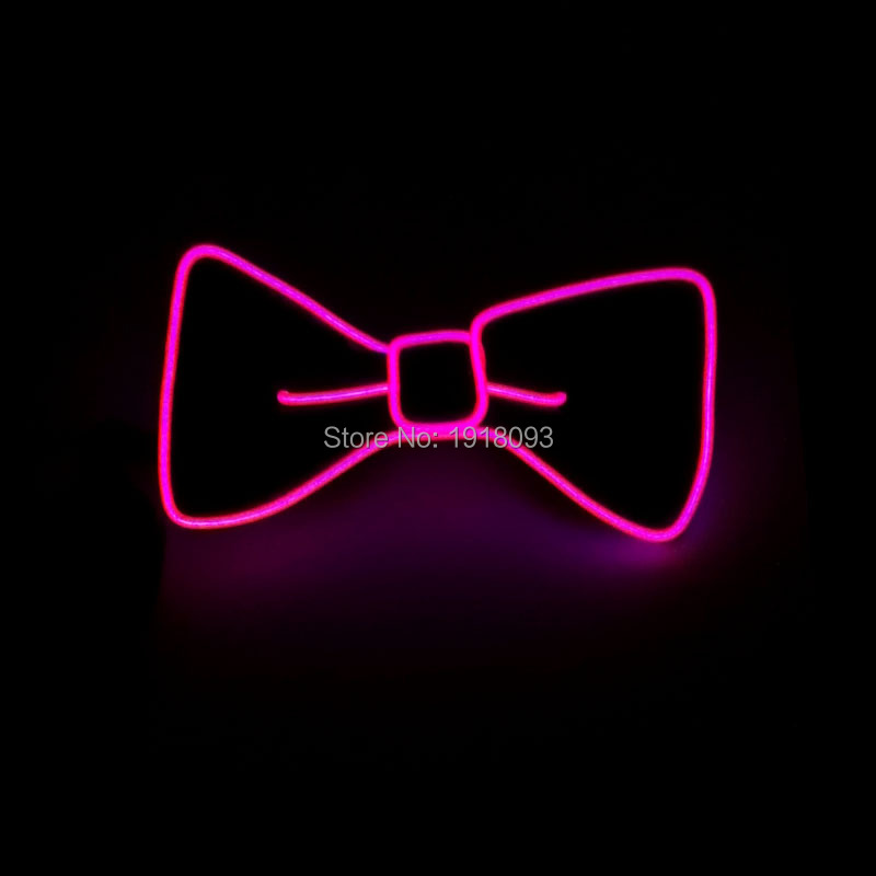 Christmas Flash Products EL Wire Glowing Bow Tie Neon Novelty Lighting With 3V Sound Activated Driver For Holiday Party Supplies