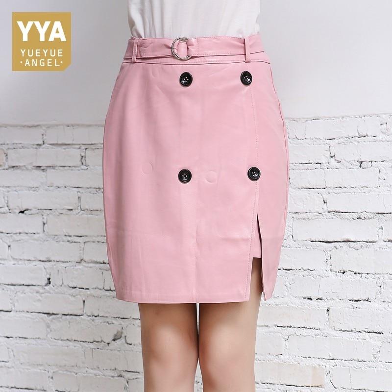 Printemps nouveau rose bureau dames en peau de mouton véritable cuir Jupe femmes décontracté boutons Slim Fit taille haute Jupe portefeuille vert Jupe Femme