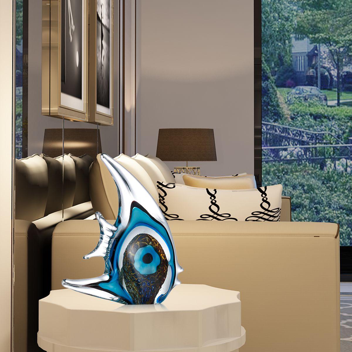 Prachtige Blauwe Streep Tropische Vis Sculptuur mondgeblazen Glas Sculptuur Woondecoratie Glas Vis Interieur Decor Craft-in Beelden & Sculpturen van Huis & Tuin op  Groep 1