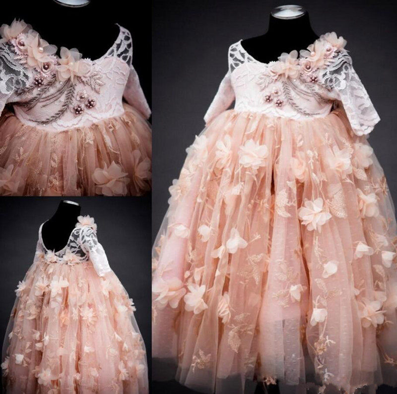 New Coming Ball Gowns For Kids Proms Half Sleeves Customized Tulle Flower Girl Dress with Handmade Flowers Beading Backless New Coming Ball Gowns For Kids Proms Half Sleeves Customized Tulle Flower Girl Dress with Handmade Flowers Beading Backless