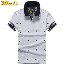 Summer mens polo shirt Cotton polka dot short male polo men top tee quick dry size M-3XL Muls brand fashion Black White Gray1613