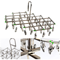 Hot Windproof Stainless Steel Swivel Clothes Hanger Organizer 35 Clips Clothes Underwear Bra Socks Gloves Drying Hook Rack