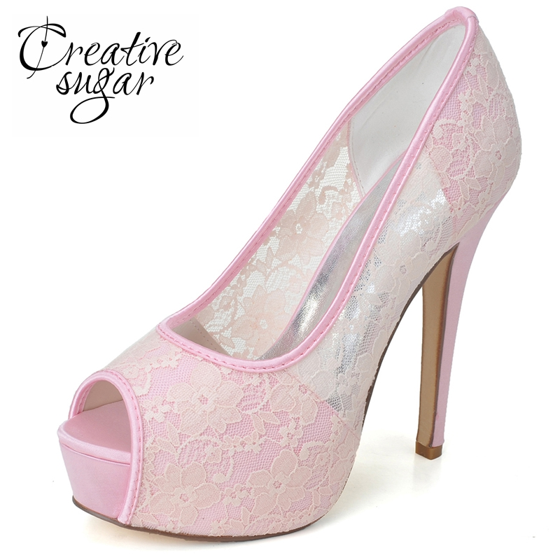 c2a4a281f74 US $45.5 |Creativesug Woman high heel platform peep toe soft mesh lace  shoes sweet wedding party prom quinceanera pumps pink white black-in  Women's ...