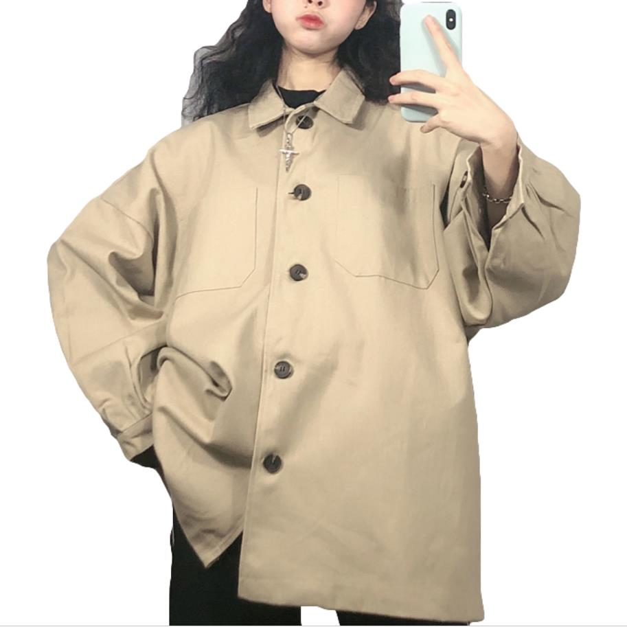 Safari Style Women Spring Autumbn Bf Loose  Lapel Single Breasted Trench Coat