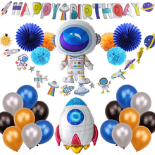 1Pc UFO Space Theme Happy Birthday Banner For Party Kids Decorations First Boy Hanging Decoraitons