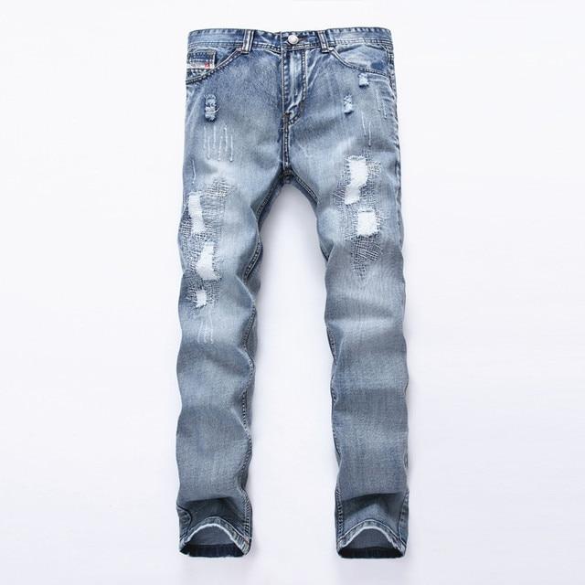 Gran Tamano De Los Hombres 42 Agujeros Frazzle Jean Estilo Europeo Famosa Marca Pantalones Vaqueros Para Hombre De Mezclilla De Ocio Ocasionales Pantalones Largos Azul Pant Men Hombre En Pantalones Vaqueros De