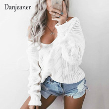 Danjeaner Sexy Off Shoulder Knitted Sweater Women Solid Deep V-neck Retro Twist Pullovers Plus Size Jumper Pull Femme Streetwear