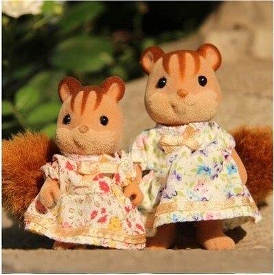 Egér anyu és kis lány mini méret Sylvanian Families eredeti Számok Anime Cartoon figurák Játékok Gyermek játékok ajándék állati baba