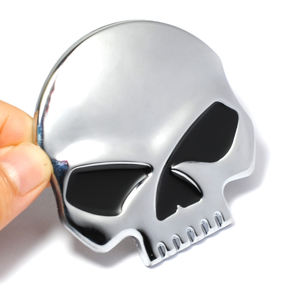 6.8*6.7CM Size Cool 3D Metal Skull Auto Car Sticker Moto Motorcycle Sticker Emblem Badge Decal Car Styling , Easter Sunday Gift mayitr metal 3d black limited edition sticker universal car auto body emblem badge sticker decal chrome emblem car styling