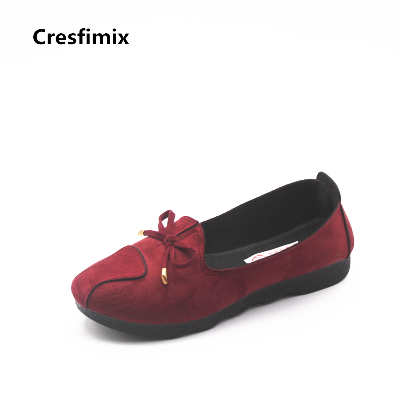 Cresfimix women cute comfortable spring & summer slip on work shoes lady soft bendable work staff shoes slip on flats b834 ribetrini 2018 top quality slik upper crystals slip on spring summer shoes women flats comfortable date easy for walking