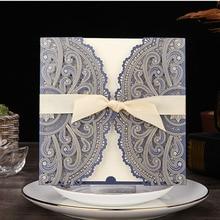 1 шт., синий, белый, золотой, красный, лазерная резка, свадебные приглашения, карты, элегантные, на заказ, с лентой, для праздника, дня рождения, вечеринки, свадебные украшения