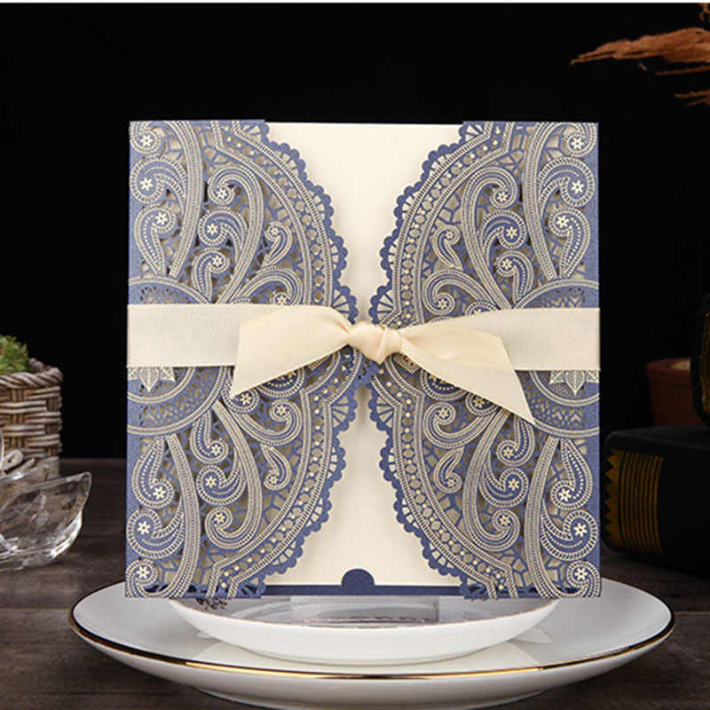 1pcs Blue White Gold Red Laser Cut Wedding Invitations Card Elegant Custom With Ribbon Event Birthday Party Wedding Decoration